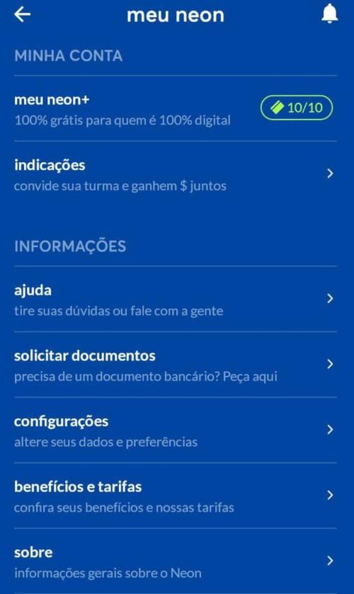 menu configurações do Meu NEON